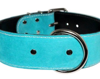 Teal Suede Leather Dog Collar With Nickel Hardware - Leather Suede Collar - Suede Dog Collar (Made In Ca)