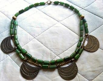 Old Naga Bronze Pendant Necklace with Chevron Like glass Beads, Beadart-Austria