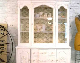 Painted Cottage Chic Shabby White Romantic French China Cabinet CC912