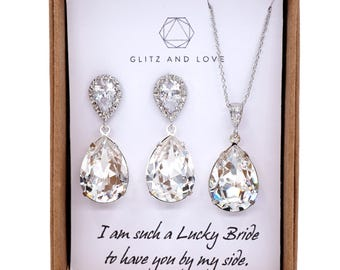 Bridesmaid Earrings Necklace Set, Bridesmaid Jewelry Set, Personalized bridal shower gifts idea, Wedding Jewelry, Swarovski crystal, sandra