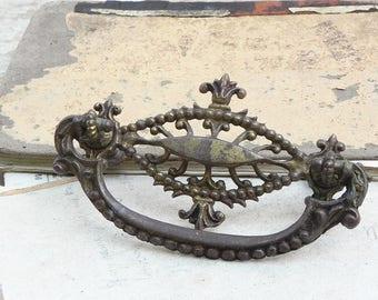 Salvaged antique brass drawer knob handle pull Vintage Hardware