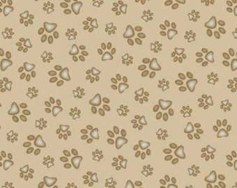 Elizabeths Studio - Sand Prints - Paws All over Fabric by the yard or cut 181E-SAND