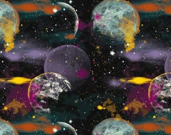 Blank - Cosmic Space - Large Planets - Black - Fabric by the Yard 8454-99