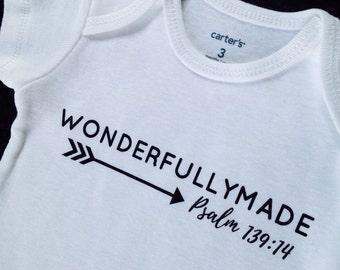 NEW DESIGN Wonderfully Made White baby bodysuit, Wonderfully Made bodysuit, psalm 139 baby gift, Psalm 139