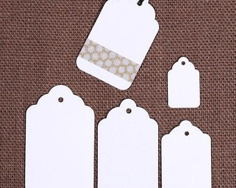 Small White Gift Tags, PICK YOUR SIZE, Christmas Gift Tags, Wedding Favor Tags, Merchandise Tags, Price Tags, Holiday Gift Tags (30)