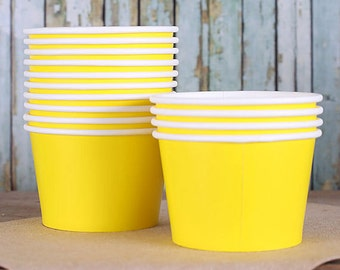 Large Yellow Ice Cream Cups, Ice Cream Bowls, Sundae Cups, Ice Cream Party Cup, Frozen Yogurt Cups, 8oz Paper Ice Cream Cups, Candy Cup (18)