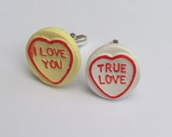 """Cute pair of mens loveheart cufflinks """"i love you"""" and """"true love"""""""