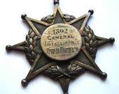 Antique Birmingham 1892 Sterling Silver VAUGHTON & SONS MEDAL School Intelligence Award Star medallion