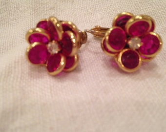 Swarovski Magenta Pink Bezel Crystal Flower Clear Earrings with Clear Rhinestone Center
