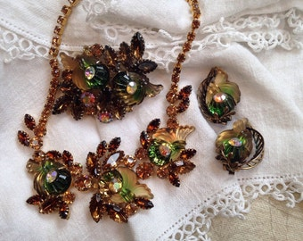 Edlee Cornacopia Necklace, Brooch and Earrings Green Topaz Rhinestones
