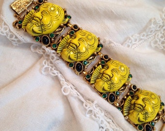 Yellow Selro Noh Mask Bracelet Green and Black Accents