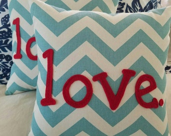 Love. Turquoise and Red Chevron Pillow