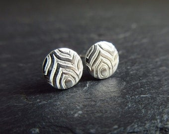Sterling silver studs with embossed design, silver studs, disc earrings, patterned metal, post earrings, silver stud earrings, metalwork