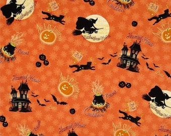 Witches n Haunted Houses on orange... HARD Find--Low Price--LAST piece