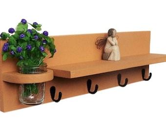 Shelf with  Key Hooks, Mason Jar, Key Holder, 24in. Collectibles Shelf