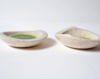 vintage pair signed STUDIO POTTERY crackle glass bottom bowls   MCM