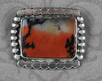 Vintage Orange and Black Agate Silver Rectangular Brooch