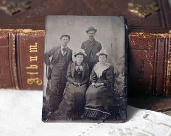 Antique Tintype Photo Meet the Family - Two Couples Photograph