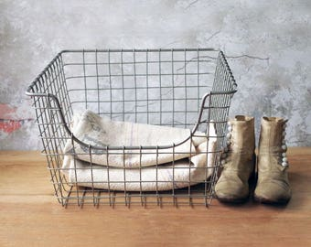 Vintage Wire Storage Basket - Industrial Container Catch All