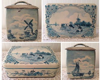 2 Vintage Dutch Tin Containers Boxes. Rustic & Distressed Windmills, Boats, Pasture Cows Cattle. Western Germany. One square, One recangular
