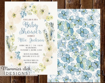 Spring Baby Shower Invitation, Boho Chic Floral Feathers Wreath Invite, Watercolor Wreath Invitation, Watercolor Poppy Invitation