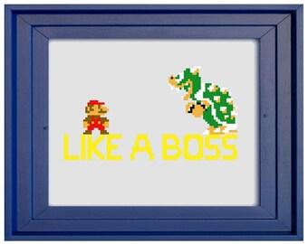 Mario Like A Boss Cross Stitch Pattern