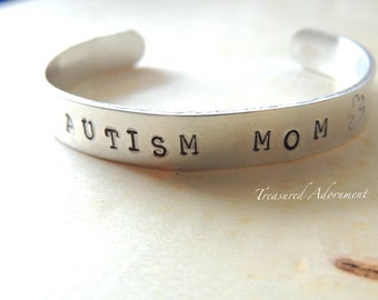 Autism Mom, Hand Stamped Cuff Bracelet, Autism jewelry, Gift for Mom, Holiday gift, Autism Awareness bracelet, Puzzle Piece, Fundraiser, ASD