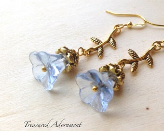 Vintage Style Stem Flower Earrings, Clear Blue Glass Flower Earrings, Antiqued Gold Earrings, Something Blue, Bridesmaid Earrings