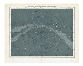 c. 1894 STAR MAP LITHOGRAPH - fixed stars of the northern hemisphere - original antique print -celestial astronomy chart - showing milky way