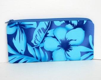 Zippered Pencil Pouch, Hawaiian Hibiscus, Blue Tropical Bag
