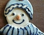 Cute Snowman Brooch Pin Winter Snow Stoneware Jewelry by sugargrovepottery on etsy