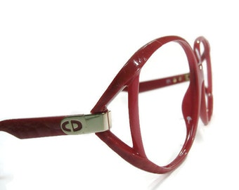 Vintage Christian Dior Red Big Lens Cateye Eyeglasses Eyewear Frame