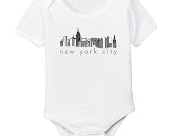 New York City NYC Skyline Organic Cotton Baby Bodysuit