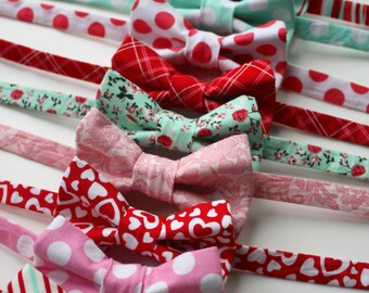 Little and Big Guy BOW TIE - Valentine's Day DARLING Collection- Pink Red Coral Mint - (Newborn-Adult) - Baby Boy Toddler Teen Man