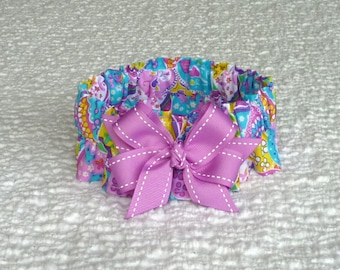 """Dog Ruffle Collar, Bright Easter Eggs Dog Scrunchie Collar with orchid bow - Size M: 14"""" to 16"""" neck"""
