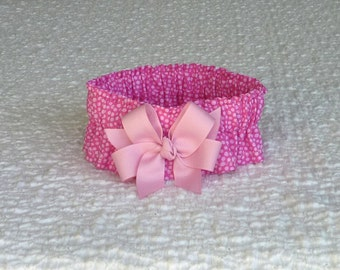 """Dog Ruffle Collar, Pet Bandana, Lady in Pink Dog Scrunchie Collar with light pink bow - Size M:  14"""" to 16"""" neck"""