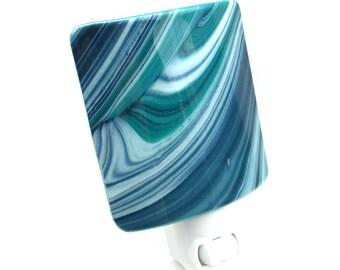 Night Light, Turquoise White & Navy Blue, Decorative Modern Art Glass