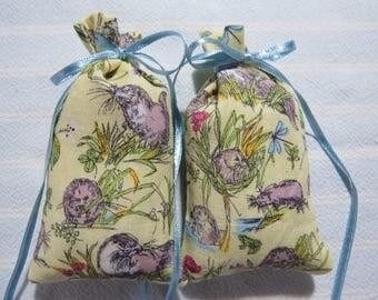 "Light Yellow 4""X2"" Sachet-'Plum' Fragrance-Otters Unisex Sachet-Cotton Fabric Botanical/Herbal Sachet-Cindy's Loft-302"