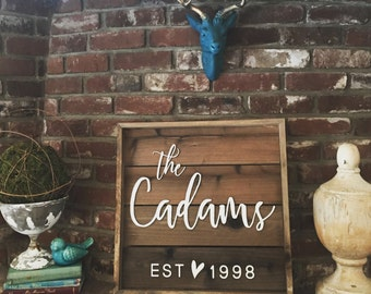 Family Name Sign - Farmhouse Decor - Wedding Gift - Wooden Sign - Personalized Gift - Rustic Wood Sign - Housewarming Gift - Hostess Gift