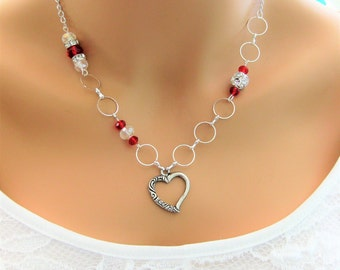 Red Beaded Necklaces, Red Necklace, Silver Jewelry, Silver Necklace, Beaded Necklaces, Heart Necklace, Bead Necklace, Crystal Beaded, N868