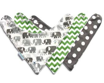 Bib, Bandana Bib, Toddler Bandana Bib,  Elephants and Chevrons, Bib Set, Reversible, Minky Lined, Toddler Bib, Drool Bib, Teething Bib, 266