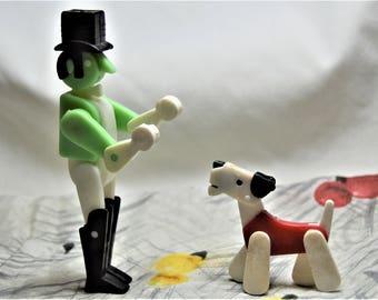 Vintage Posable Dolls, Dog Show Scottie or Terrier with Handler Man Top Hat ,1960's 1970's, Hong Kong,Figures, Pose Toy Dapper Gentlemen,