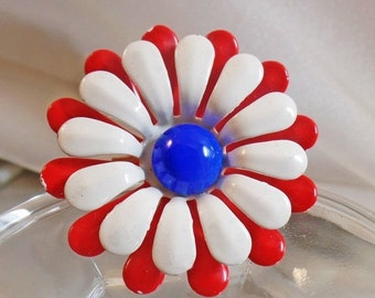 ON SALE Vintage Red White Blue Flower Brooch.   Mod Flower Power Pin.