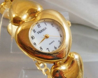 SALE Vintage Gold Heart Ladies Watch. Homer.  Women's Gold Heart Watch.