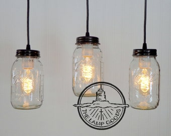 Mason Jar CHANDELIER Light Rectangular with NEW Quart Trio - Ceiling Lighting Fixture Flush Mount Farmhouse Kitchen Rustic Pendant LampGoods