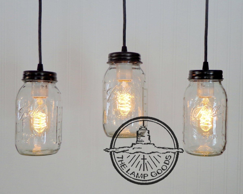 Mason Jar Chandelier Light Rectangular With New Quart Trio