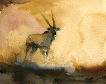 Antelope Original watercolor painting 10x8inch