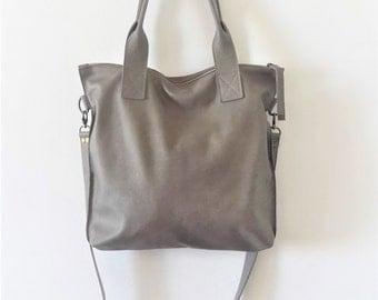 GRAY leather tote - Handbag - Cross-body bag - Every day bag - Women bag - Shoulder leather bag