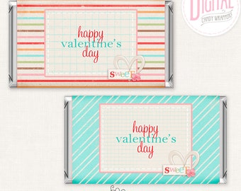 DIGITAL Valentine Candy Wrappers, Valentine Party Favors, Valentine Candy, Valentine Decor, PDF File, Ediatble Text, Instant Download