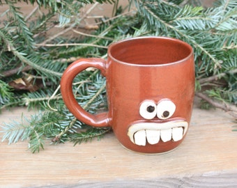 Ceramic Stein Tankard Funny Face Mug Red Coffee Cup Funny Mans Beer Stein. Nerdy Pottery Tankard. Funky Guys Gifts. Mans Gift.